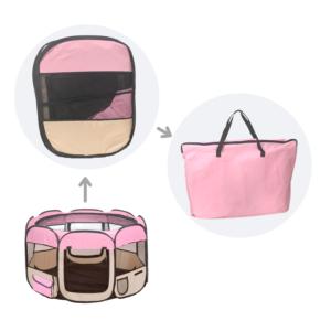 Hvalpegård let foldbar stærkt kanvas lyserød/sand