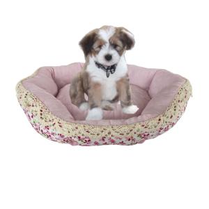 Hundekurv lyserød blomstret til lille hund