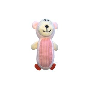 Hundelegetøj lyserød bamse med piv 13x23cm