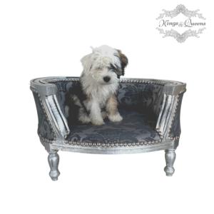 Hundeseng luksus kvalitet fra Kings&Queens gråmønstret