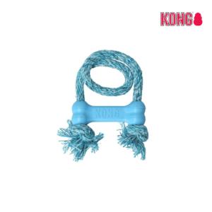 KONG Goodie-Bone™ hvalpelegetøj gummikødben reb lyseblå