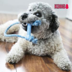 KONG Goodie-Bone™ hvalpelegetøj gummikødben reb lyserød